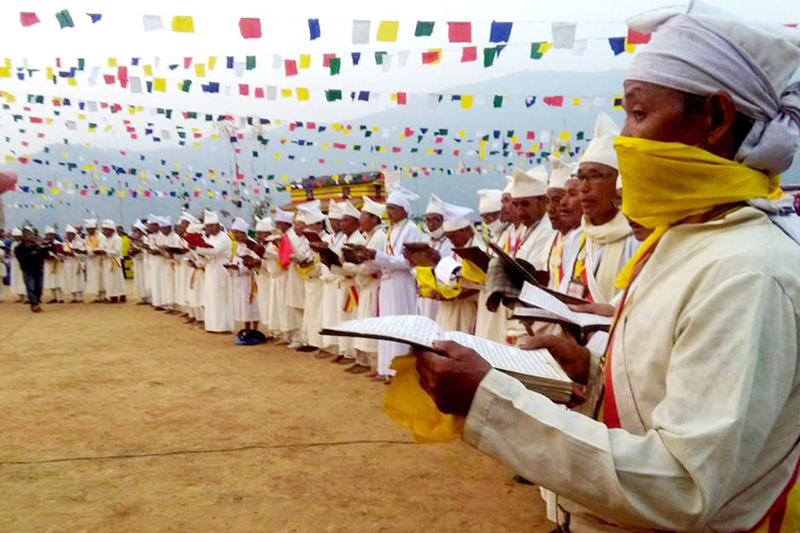 Kirant religious leaders read out their holy book 'Mundhum' in Mansebung of Ilam district, on Wednesday, February 15, 2017. Photo: RSS