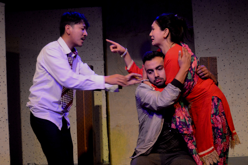 A scene of 'Maan Vs Mati' being staged at the Theatre Mall in Kathmandu. Photo: Theatre Mall