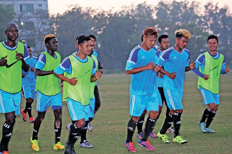 Laxmi Hyundai Manang Marshyangdi Club players jog during a training session in Chittagong on Saturday, February 18, 2017, on the eve of their Sheikh Kamal International Club Cup match against Mohammedan Sporting Club at the MA Aziz Stadium.