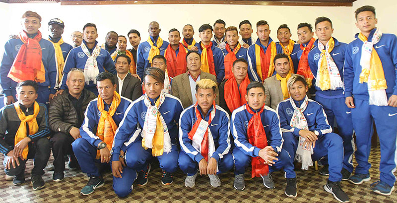 Players and officials of MMC pose for a group photo after a farewell programme in Kathmandu on Tuesday, February 14, 2017. Photo: THT