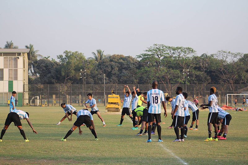 MMC players take part in a training session at the MA Aziz Stadium in Chittagong on Sunday, February 26, 2017, ahead of their semi-final match of the Sheikh Kamal International Club Cup against TC Sports Club of the Maldives. Photo courtesy: NSJF
