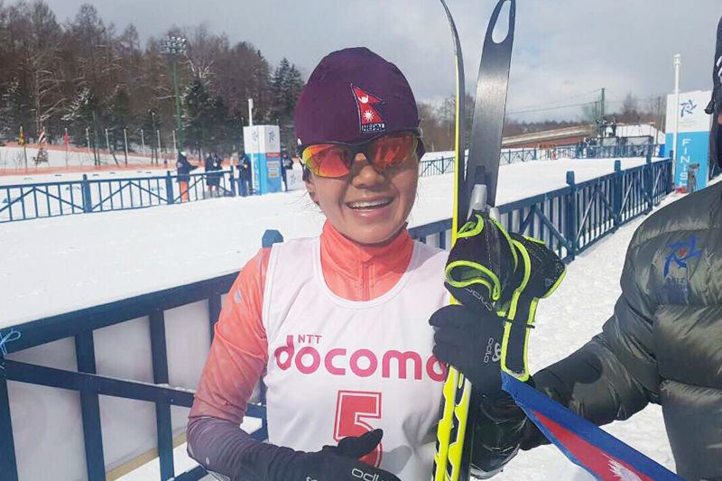 File: Nepal' Manikala Rai pose after competing in Cross Country Skiing event in 8th Asian winter Games in Sapporo of Japan. Courtesy: Nepal Olympic Committee
