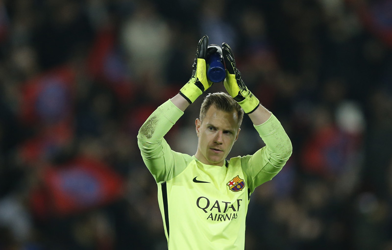 Barcelona's Marc-Andre ter Stegen applauds fans after the game. Photo: Reuters