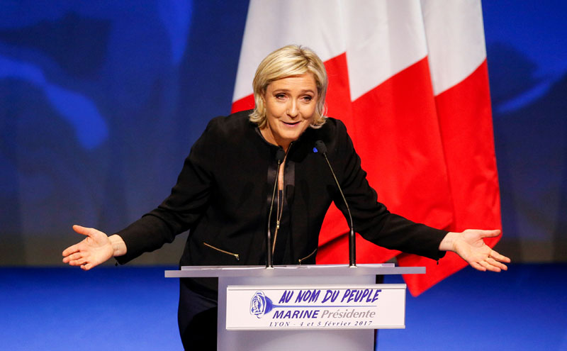 Marine Le Pen, French National Front (FN) political party leader and candidate for the French 2017 presidential election, attends the 2-day FN political rally to launch the presidential campaign in Lyon, France, on February 5, 2017. Photo: Reuters