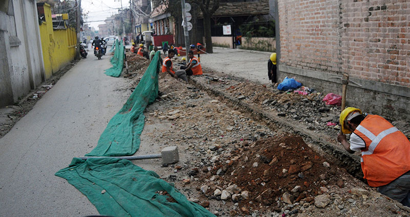 Road being dug up for laying pipes for the Melamchi Drinking Water Project, in Bhatbhateni, Kathmandu, on Monday. Photo: Balkrishna Thapa Chhetri/THT