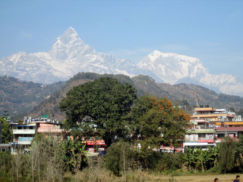 The Mount Machhapuchhre and the Annapurnapurna Himalayan Range are seen in the picture taken from Pokhara, Kaski, on Sunday, February 12, 2017. Photo: Rishi Ram Baral