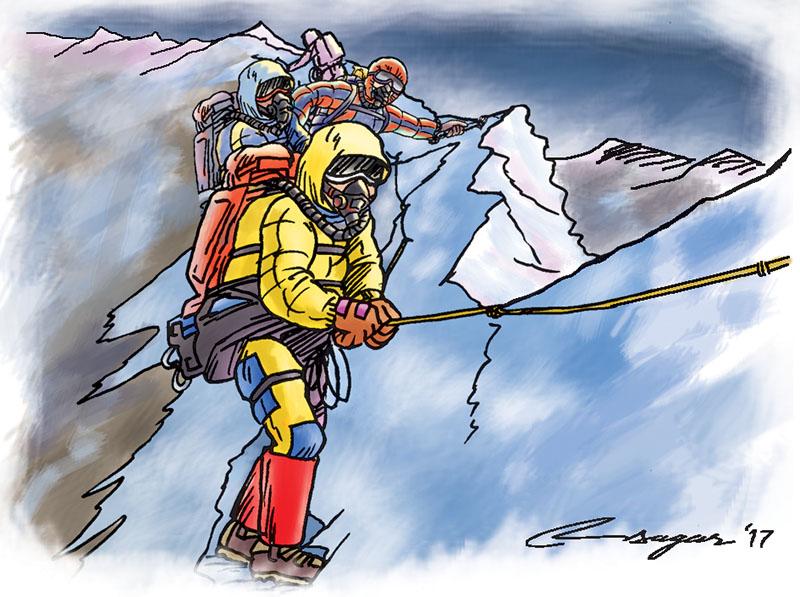Mountain climbing. Illustration: Ratna Sagar Shrestha/THT