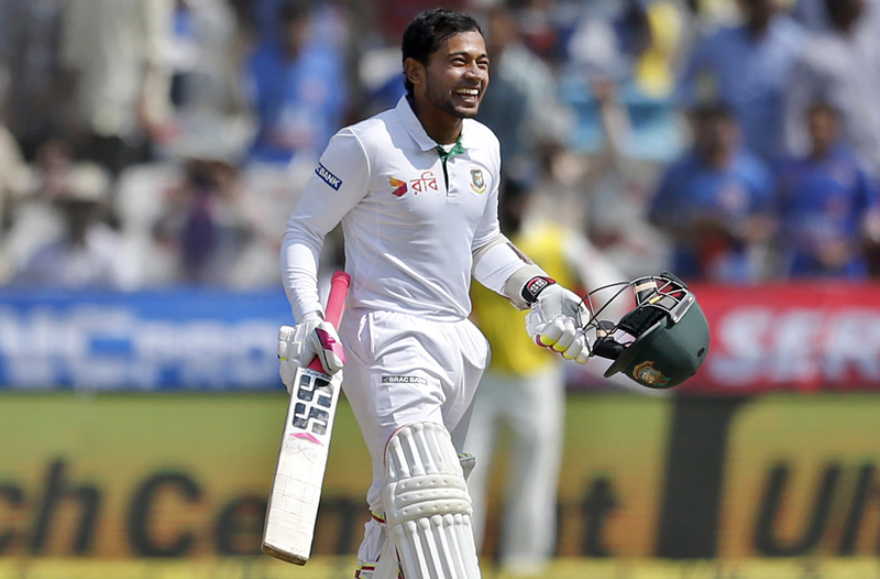 Bangladesh's captain Mushfiqur Rahim celebrates scoring a century during the fourth day of the cricket test match against India in Hyderabad, India, Sunday, Feb. 12, 2017. Photo: AP