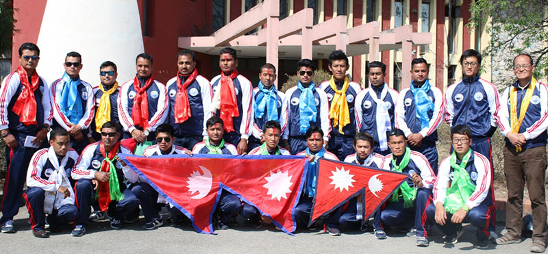 Nepal national baseball team players and officials pose for a group photo in Kathmandu on Wednesday, February 22, 20174,  before their departure to Pakistan to take part in the 13th West Asia Baseball Cup slated for February 25 to March 1 in Islamabad.