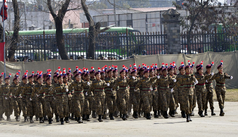 Nepali Army personnel participate in a march-past at a special function organised by the Nepal Army to mark the Army Day at the Army Pavilion, Tundikhel of Kathmandu on Friday, February 24, 2017. Photo: PM's Secretariat