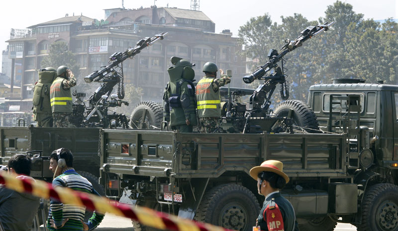Nepal Army personnel exhibit artillery skills during a function organised on the occasion of Army Day at the Army Pavilion, Tundikhel of Kathmandu on Friday, February 24, 2017. Photo: PM's Secretariat