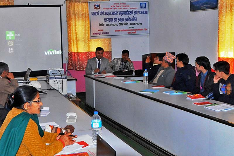 A training programme organised by Project for Agricultural Commercialisation and Trade under the Ministry of Agricultural Development in Mangalapur of Rupandehi on Wednesday, February 8, 2017. Photo Courtesy: PACT