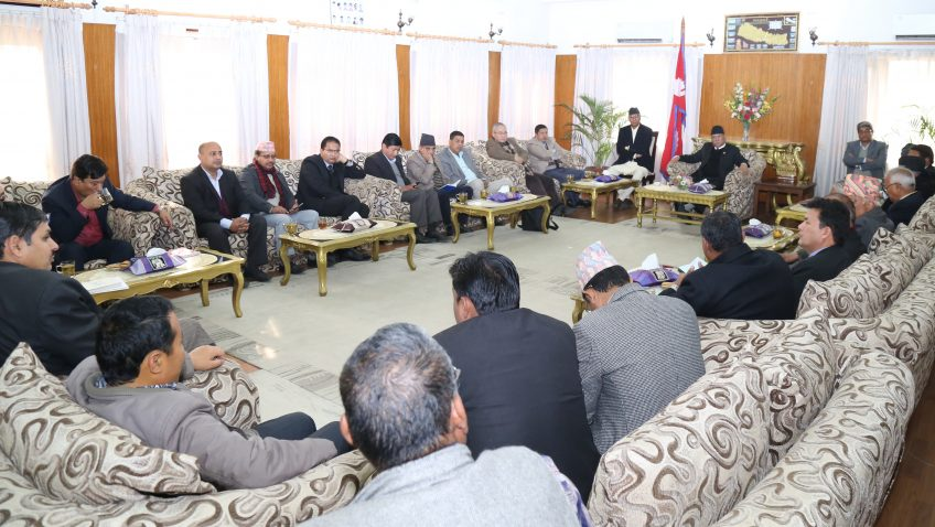 PM Dahal holding a meeting with legal eagles to discuss the LBRC report. Photo: PM's Secretariat