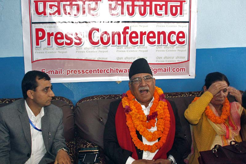 Prime Minister Pushpa Kamal Dahal speaks at a press meet organised by the Press Centre Chitwan at the Bharatpur Airport, on Wednesday, February 8, 2017. Photo: Tilak Ram Rimal