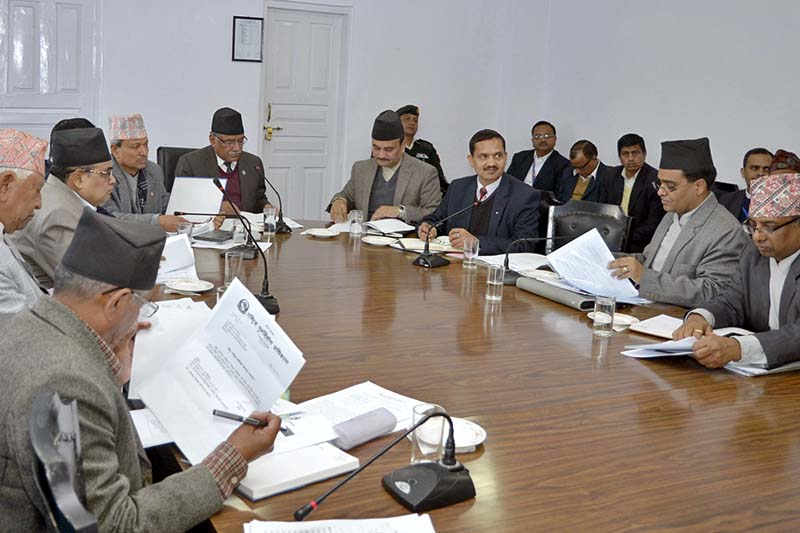 Prime Minister Pushpa Kamal Dahal in a meeting of the National Reconstruction Authority Steering Committee in Singha Durbar, on Monday, February 13, 2017. Photo Courtesy: PM's Secretariat