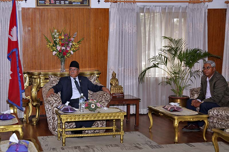 Prime Minister Pushpa Kamal Dahal holds a meeting with Nepali Congress President Sher Bahadur Deuba at his residence in Baluwatar, on Sunday, February 19, 2017. Photo: RSS