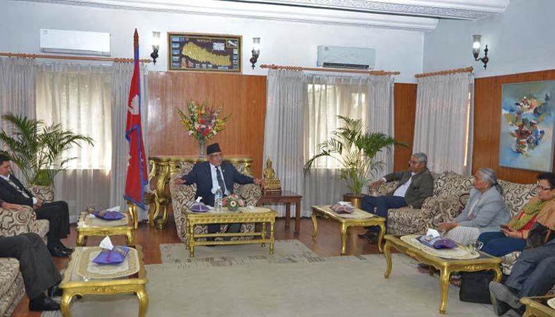 PM Pushpa Kamal Dahal meets Nepali Congress leaders