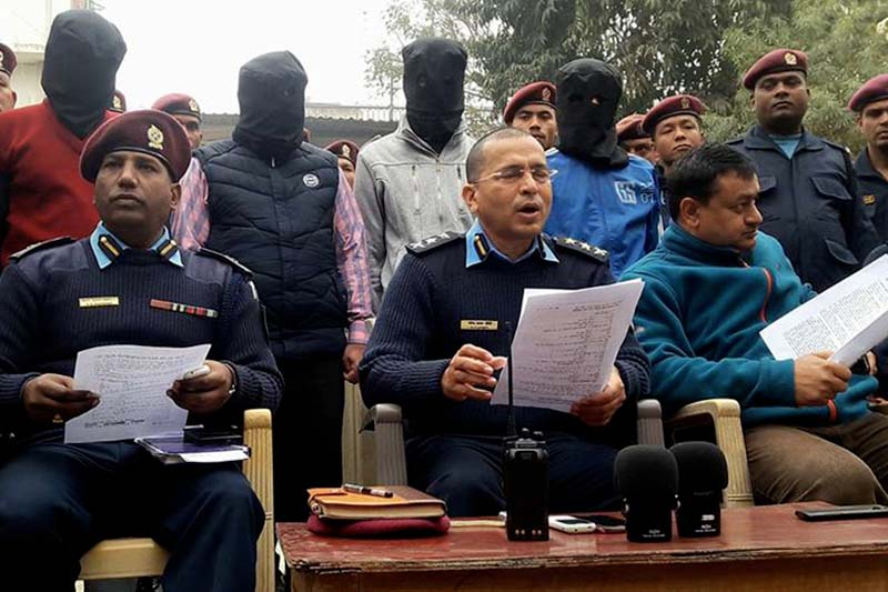 Police brief media about the murder of two Indian nationals while parading the accused in Kalaiya of Bara district on Tuesday, February 7, 2017. Photo: Ram Sarraf
