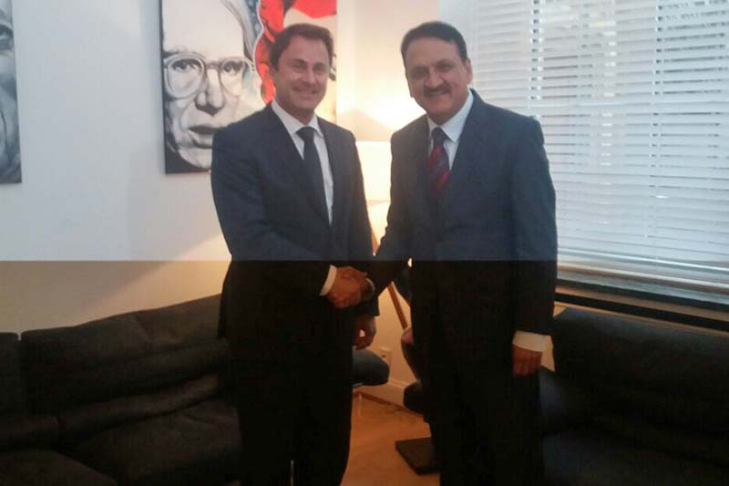 Minister for Foreign Affairs Prakash Sharan Mahat (right) with Luxembourg's Prime Minister Xavier Bettel at the latter's office in Luxembourg on Thursday, February 16, 2017. Photo Courtesy: MoFA
