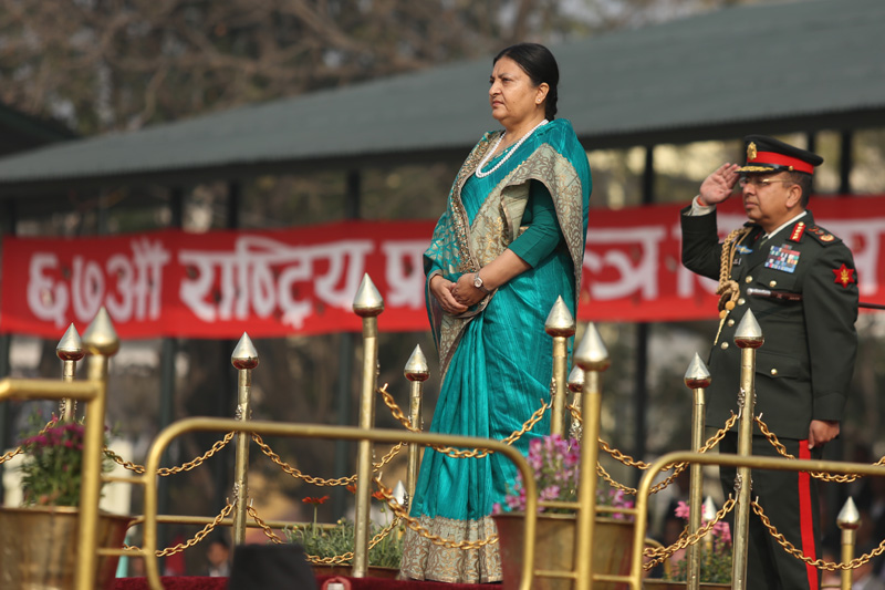 President Bidya Devi Bhandari and Chief of Army Staff Rajendra Chhetri receive a salute offered by a Nepal Army troop during the Democracy Day function in the Capital, on Saturday, February 18, 2017. Photo: RSS