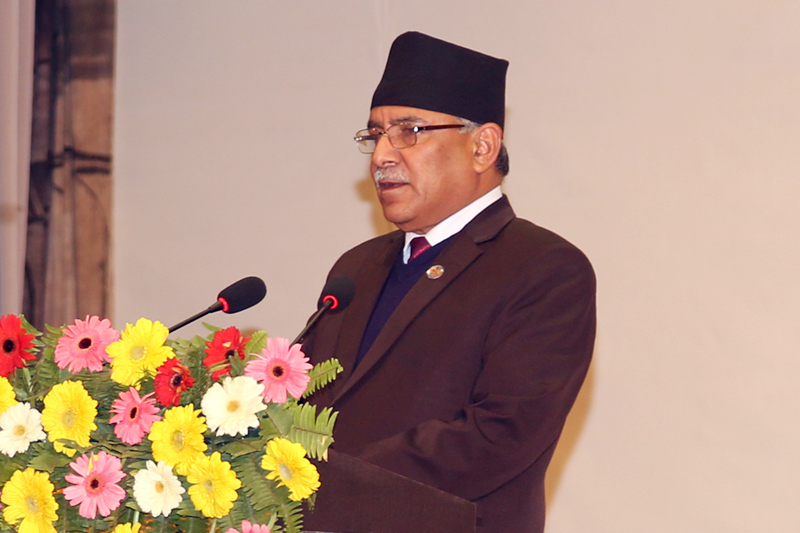 Prime Minister Pushpa Kamal Dahal speaks at a programme organised on the occasion of 26th anniversary of CIAA in Kathmandu, on Friday, February 10, 2017. Photo: RSS