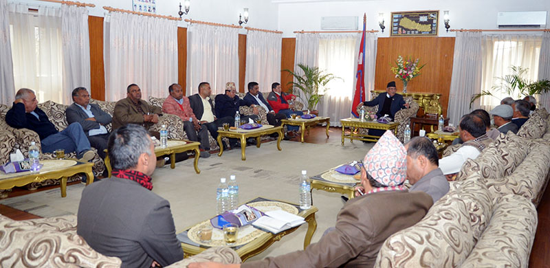 Prime Minister Pushpa Kamal Dahal along with leaders of ruling Nepali Congress holds a meeting with leaders of the United Democratic Madhesi Front, in Baluwatar of Kathmandu, on Saturday, February 18, 2017. Photo: PM's Secretariat