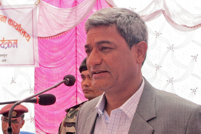 Minister for Physical Infrastructure and Transport Ramesh Lekhak speaks after inaugurating the Mahakali bridge construction project office's building  in Kanchanpur district, on Tuesday, February 28, 2017. Photo: RSS
