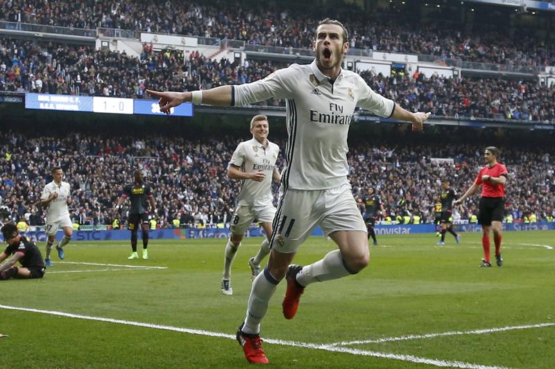Real Madrid's Gareth Bale celebrates after scoring against Espanyol. Photo: Reuters
