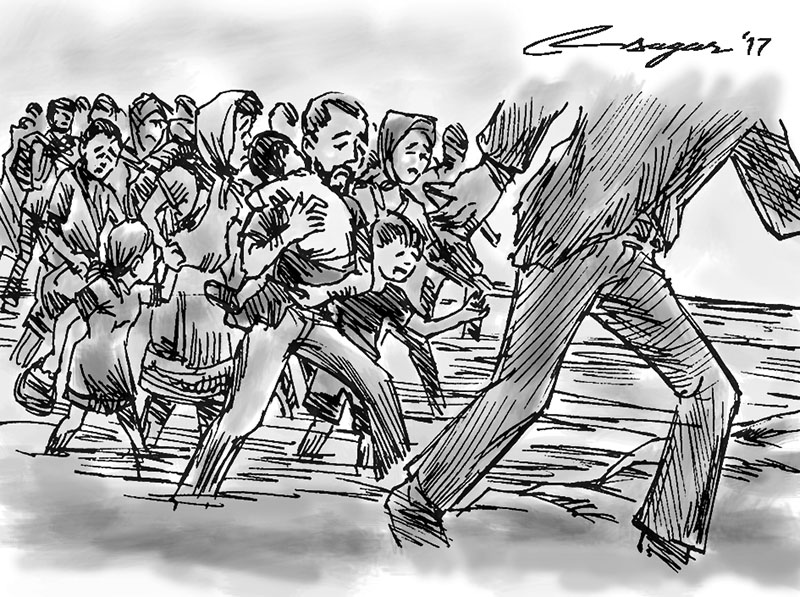 Refugees. Illustration: Ratna Sagar Shrestha/THT