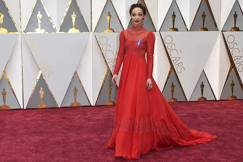 Ruth Negga arrives at the Oscars, at the Dolby Theatre in Los Angeles on Sunday, February 26, 2017. Photo: AP