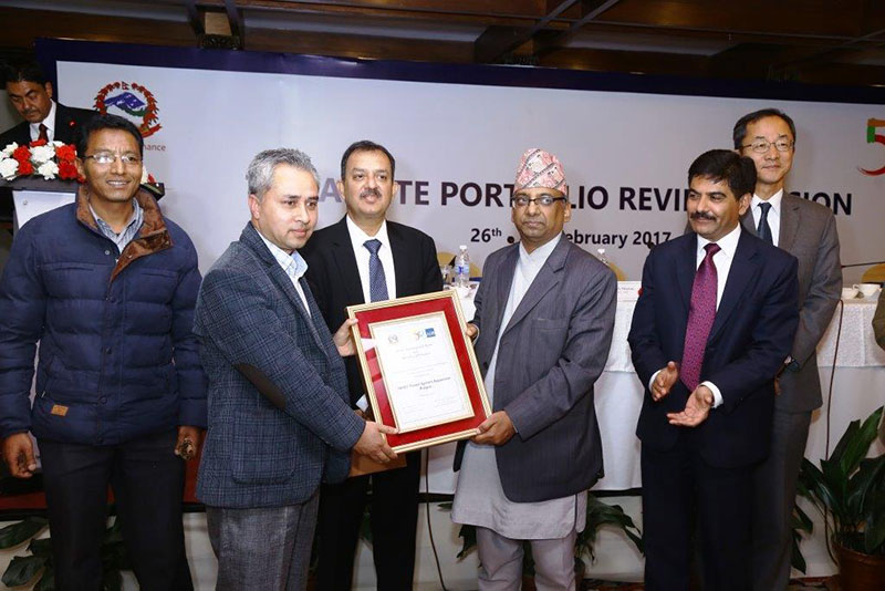 SASEC Power System Expansion Project being awarded the Best Project Management Team Award for 2016, in Kathmandu, on Sunday, February 26, 2017. Photo: THT