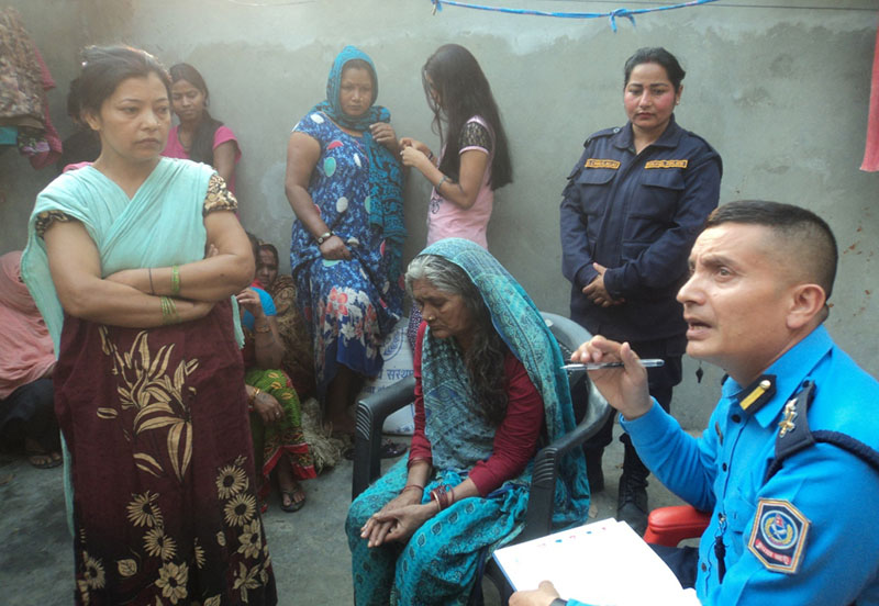 DSP Dan Bahadur Karki listening to complaints from jailbirds at the womenu2019s block of Saptari District Prison, in Rajbiraj, on Tuesday, February 21, 2017. photo: THt