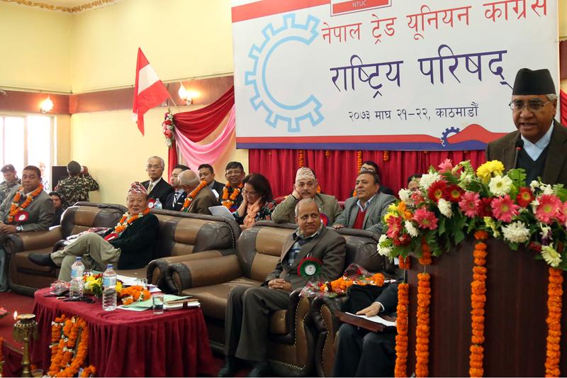 Nepali Congress President Sher Bhahadur Deuba addresses the central council meeting of NC-aligned Nepal Trade Union Congress, in Kathmandu, on Friday, February 3, 2017. Photo: RSS
