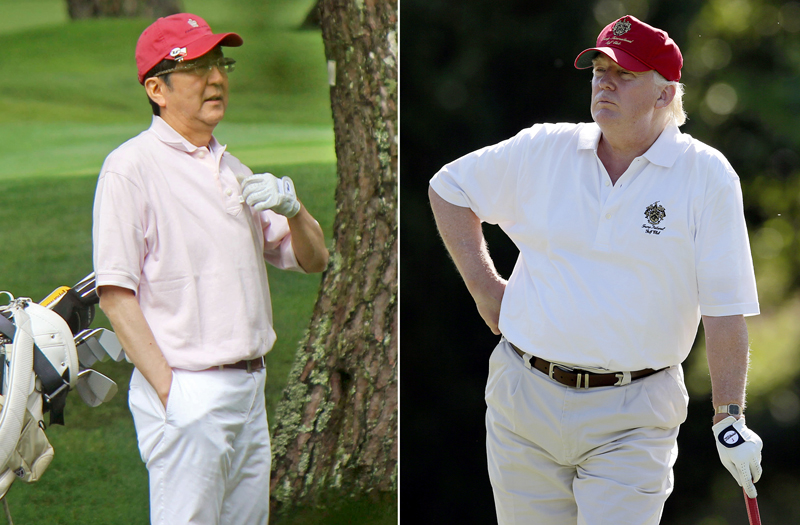FILE - This combination file photo shows Donald Trump, right, stands on the 14th fairway during a pro-am round of the AT&T National golf tournament at Congressional Country Club in Bethesda, Md. on June 27, 2012, and Japanese Prime Minister Shinzo Abe, left, playing golf in Yamanakako village, west of Tokyo, on July 23, 2016. Photo: AP