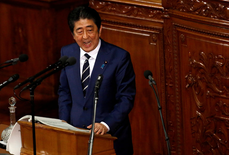 Japan's Prime Minister Shinzo Abe makes a policy speech at the start of the ordinary session of parliament in Tokyo, Japan, on January 20, 2017.  Photo: Reuters