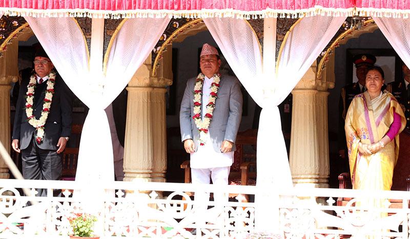 (From right) President Bidya Devi Bhandari, Vice-President Nanda Bahadur Pun and Prime Minister Pushpa Kamal Dahal attending a programme organised on the occasion of Basanta Panchami at Hanumandhoka, Kathmandu, on Wednesday, February 1, 2017. Photo: RSS
