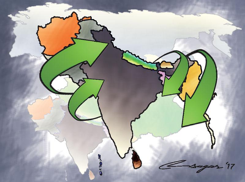South Asia. Illustration: Ratna Sagar Shrestha/THT