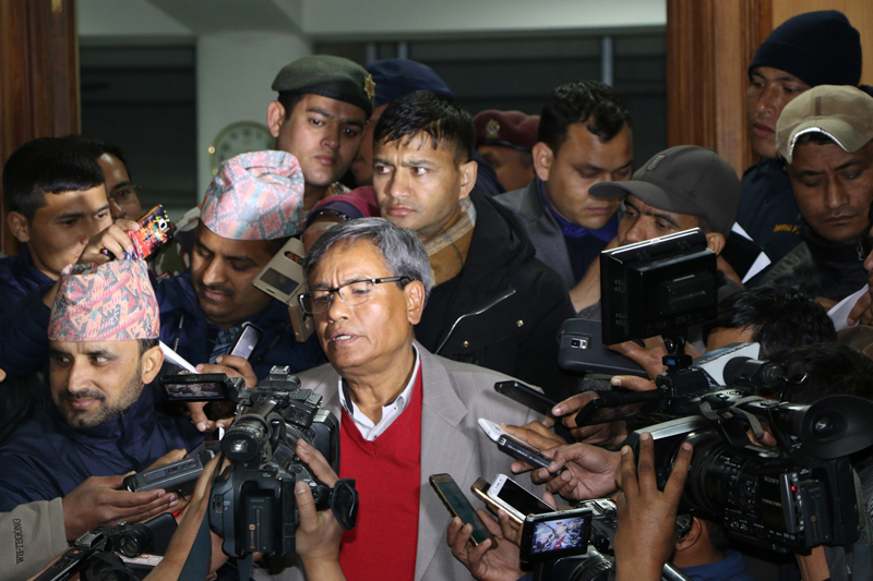 Minister for Information and Communication Technology Surendra Kumar Karki briefs media after the meeting of Council of Ministers at Singha Durbar, in Kathmandu, on Thursday, February 2, 2017. Photo: RSS