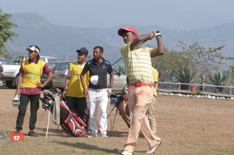 Rabi Khadka tees off for the 17th hole during the first round of the Surya Nepal Western Open in Pokhara on Wednesday, February 8, 2017.
