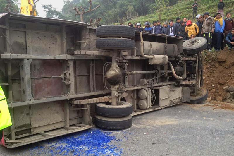 The bus (Ga 1 Kha 3288) is seen after it lost balance and met with an accident in Tanahun district along the Prithivi Highway on Thursday, February 2, 2017. Photo: Madan Wagle