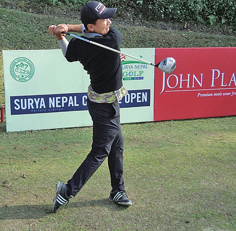 Amateur golfer Tenzing Tsering plays a shot during the second round of the Surya Nepal Central Open at the Gokarna Golf Club in Kathmndu on Tuesday, February 21, 2017. Photo Courtesy: Nepal PGA