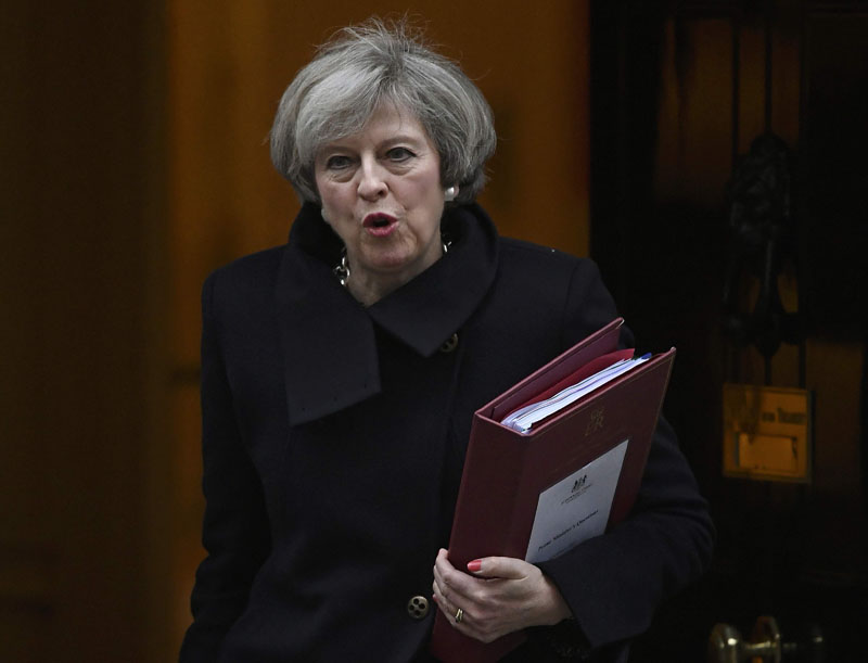 Britain's Prime Minister Theresa May leaves Number 10 Downing Street to attend Prime Minister's Questions at parliament in London, Britain, on February 8, 2017. Photo: Reuters
