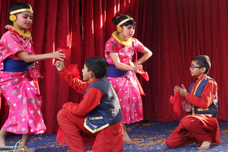 Artists clad in traditional attires perform dance on the occasion of Shree Panchami in Kathmandu, on Wednesday, February 1, 2017. Photo: RSS