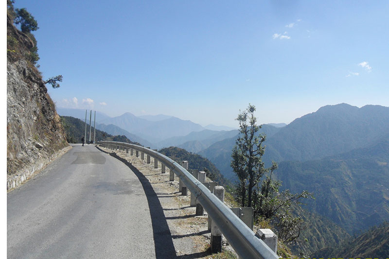 Traffic barriers installed to prevent errant vehicles from traversing steep slopes at the roadside along the Jayaprithvi Highway that links the far-western districts, Baitadi, Darchula and Bajhang as of photo taken on Saturday, February 11, 2017. The infrastructure was installed with the financial support of Rs 200 million from World Bank. Photo: RSS