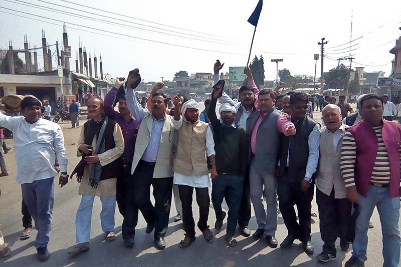 Cadres of the United Democratic Madhesi Front take out a rally against CPN-UML in Gaur of Rautahat district, on Sunday, February 26, 2017. Photo: Prabhat Kumar Jha