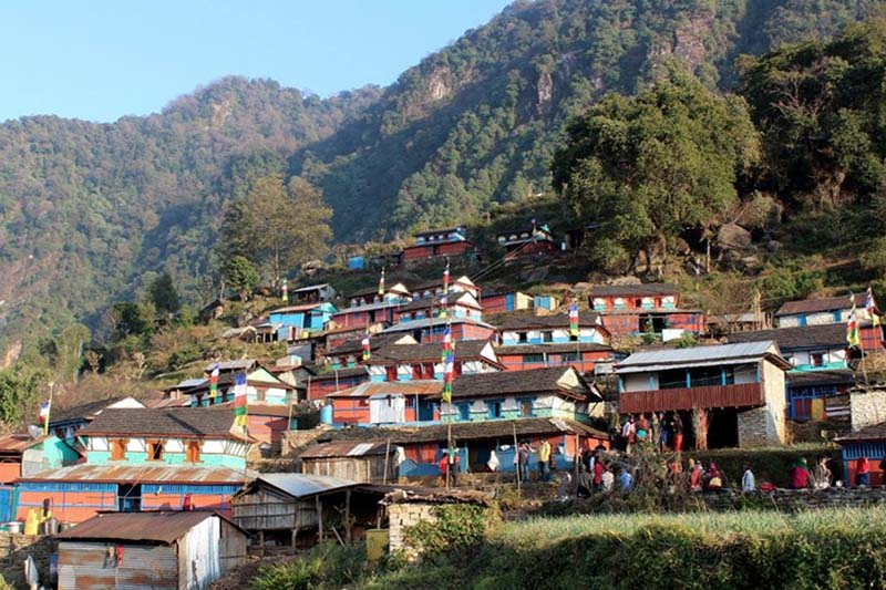 A view of Tamang village in Bhusme in Lamjung as captured on Monday, February 27, 2017. The village has recently launched the homestay service. Photo: Ramji Rana