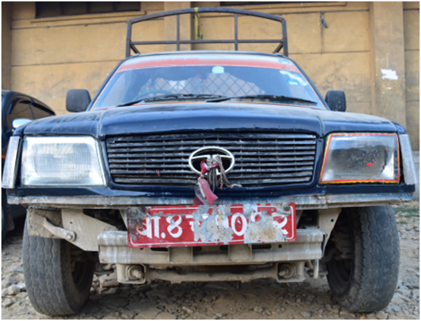 A pick-up van allegedly involved in a vehicular homicide impounded by police from Kathmandu, on Wednesday, February 8, 2017. Photo: MCD