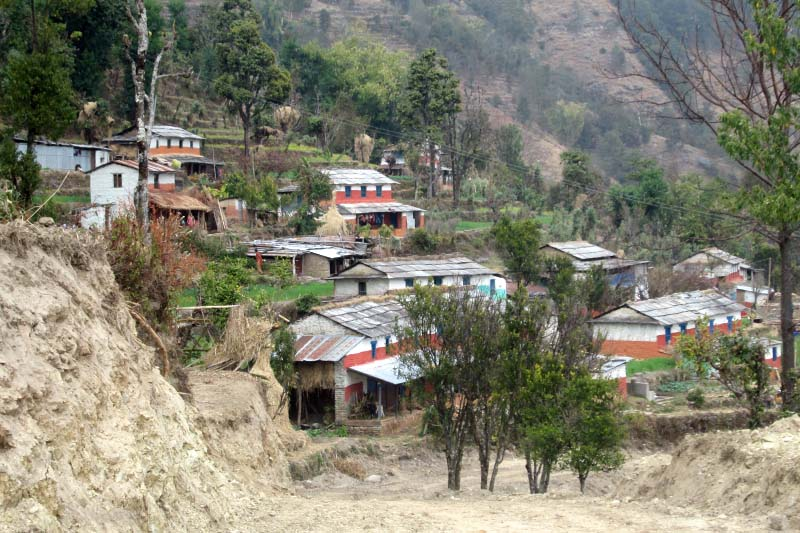 Road leading to Deupur VDC of Parbat district as seen on February 5, 2017. Haphazard road construction in the area has put the settlement at risk. Photo: Rishi Ram Baral/THT