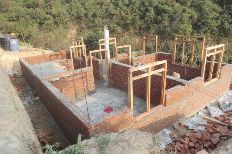 FILE: A building is seen under-construction as quake survivors await the second tranche of the reconstruction grant, in Kavre, on Thursday, February 23, 2017. Photo: RSS