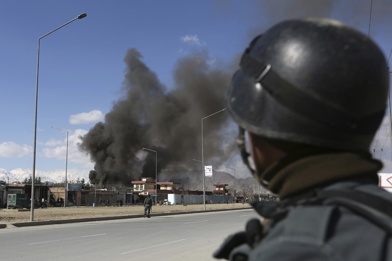 Afghan security forces respond to a suicide attack in Kabul, Afghanistan, Wednesday, March 1, 2017. Photo: AP